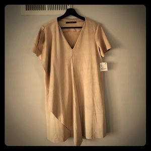 Zara V neck Cream Faux Suede Dress Size S